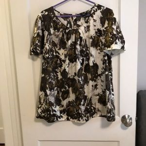 Mission cream and brown floral blouse